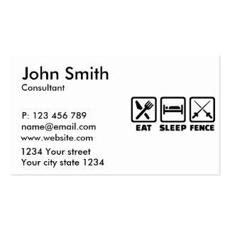 Eat sleep fence business card