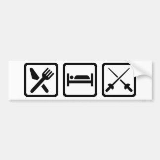 Eat sleep fencing bumper sticker