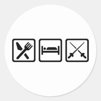 Eat sleep fencing classic round sticker