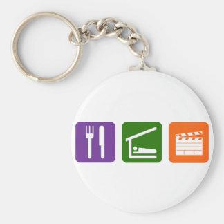 Eat Sleep Film Production Basic Round Button Keychain