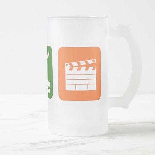 Eat Sleep Film Production 16 Oz Frosted Glass Beer Mug