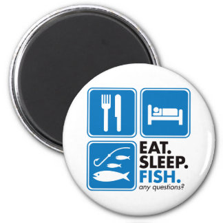 Eat Sleep Fish 2 Inch Round Magnet