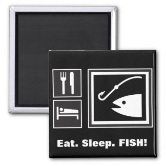 Eat Sleep FISH! 2 Inch Square Magnet