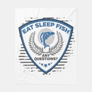 Eat Sleep Fish Any Questions Fishing Fleece Blanket