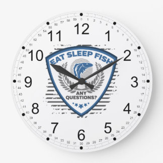 Eat Sleep Fish Any Questions Fishing Large Clock