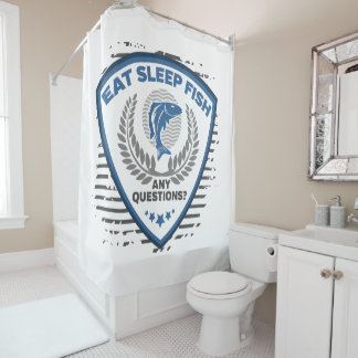 Eat Sleep Fish Any Questions Fishing Shower Curtain