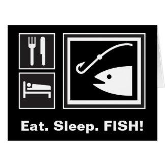 Eat Sleep FISH! Large Greeting Card