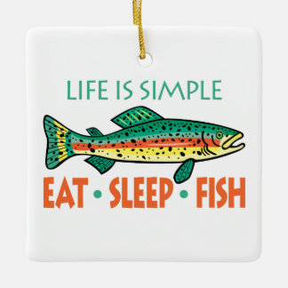 Eat, Sleep, Fish - Funny Fishing Ceramic Ornament