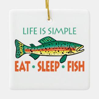 Eat, Sleep, Fish - Funny Fishing Ceramic Ornament