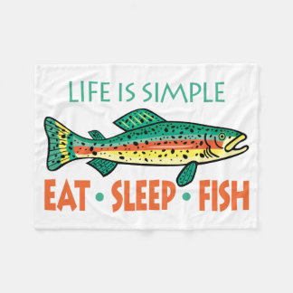 Eat, Sleep, Fish - Funny Fishing Fleece Blanket