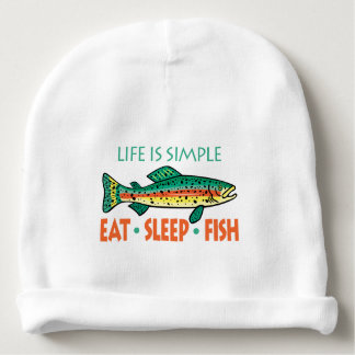 Eat Sleep Fish - Funny Fishing Saying Baby Beanie