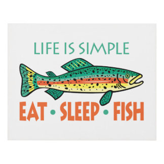 Eat Sleep Fish - Funny Fishing Saying Panel Wall Art