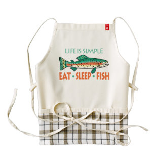 Eat Sleep Fish - Funny Fishing Saying Zazzle HEART Apron