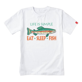 Eat Sleep Fish - Funny Fishing Saying Zazzle HEART T-Shirt