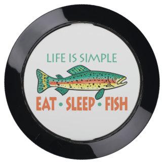 Eat, Sleep, Fish - Funny Fishing USB Charging Station