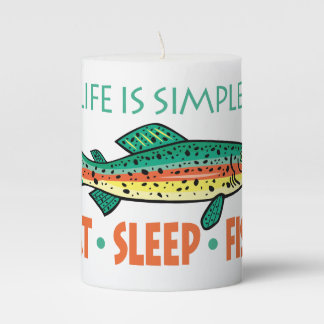 Eat Sleep Fish - Funny Saying Pillar Candle