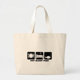 eat sleep fish jumbo tote bag