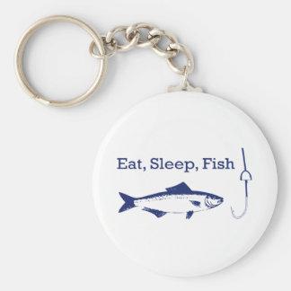 Eat Sleep Fish Basic Round Button Keychain