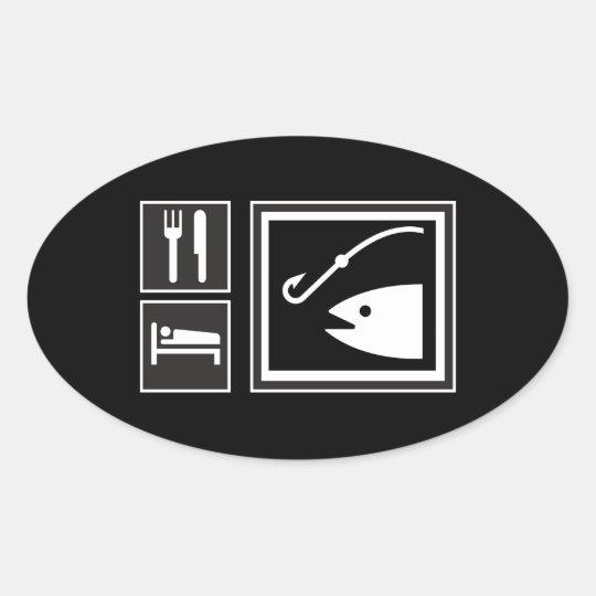 Eat Sleep FISH! Oval Sticker