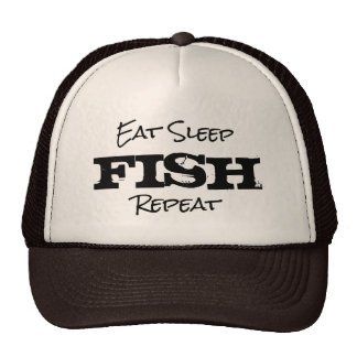 EAT SLEEP FISH REPEAT retirement gift trucker hat