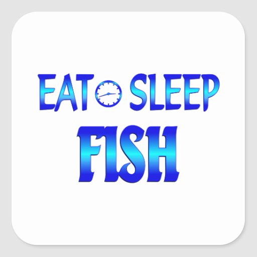 Eat Sleep Fish Square Stickers