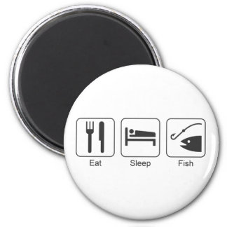 Eat, Sleep, Fish Symbols Design in Grey Magnet