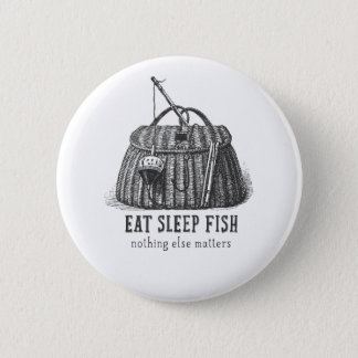 Eat Sleep Fish Vintage Tackle box Button