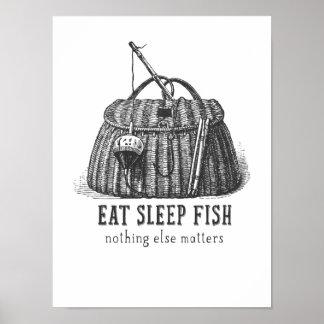 Eat Sleep Fish Vintage Tackle box Poster
