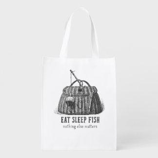 Eat Sleep Fish Vintage Tackle box Grocery Bags