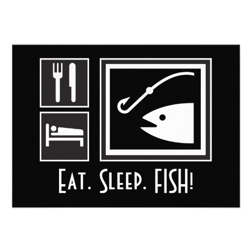 Eat Sleep FISH! You're invited on a Fishing Trip Personalized Invitation