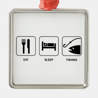 Eat Sleep Fishing Metal Ornament