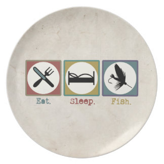 Eat Sleep Fishing Trout Dinner Plate