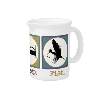 Eat Sleep Fishing Trout Drink Pitcher