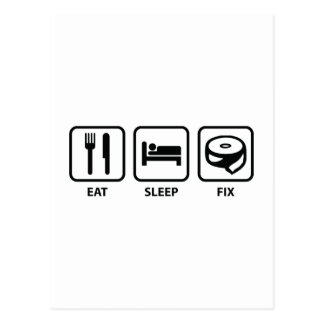 Eat Sleep Fix Postcard
