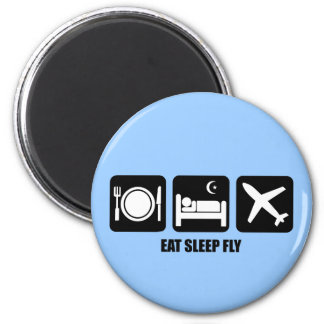 eat sleep fly 2 inch round magnet