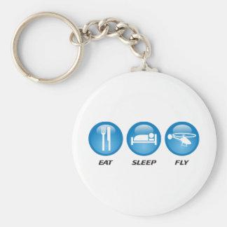 Eat Sleep Fly Basic Round Button Keychain