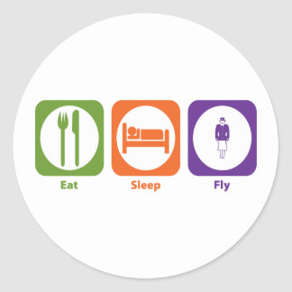Eat Sleep Fly Classic Round Sticker
