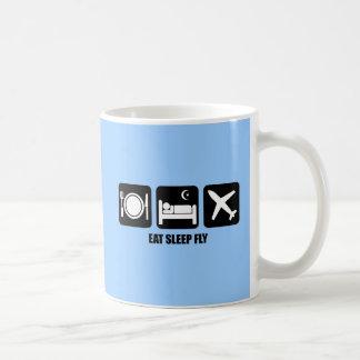 eat sleep fly coffee mug