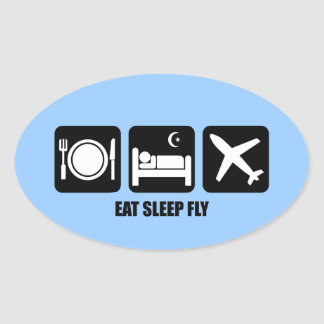 eat sleep fly oval sticker