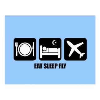eat sleep fly postcard