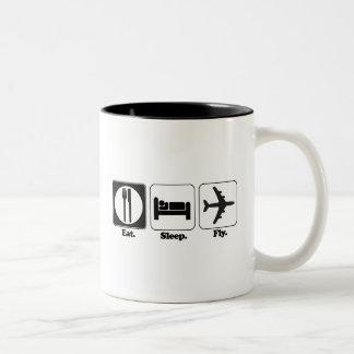 eat sleep fly Two-Tone coffee mug
