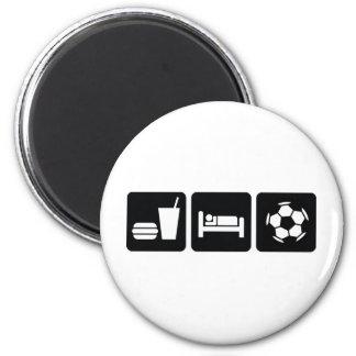 Eat Sleep Football / Soccer 2 Inch Round Magnet