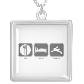 Eat Sleep Freenet Square Pendant Necklace