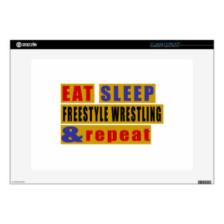"EAT SLEEP FREESTYLE WRESTLING AND REPEAT 15"" LAPTOP SKINS"