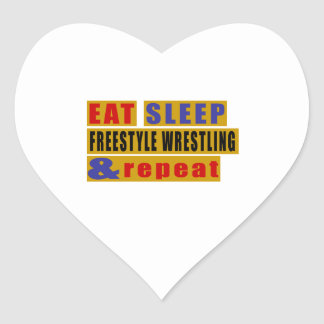 EAT SLEEP FREESTYLE WRESTLING AND REPEAT HEART STICKER