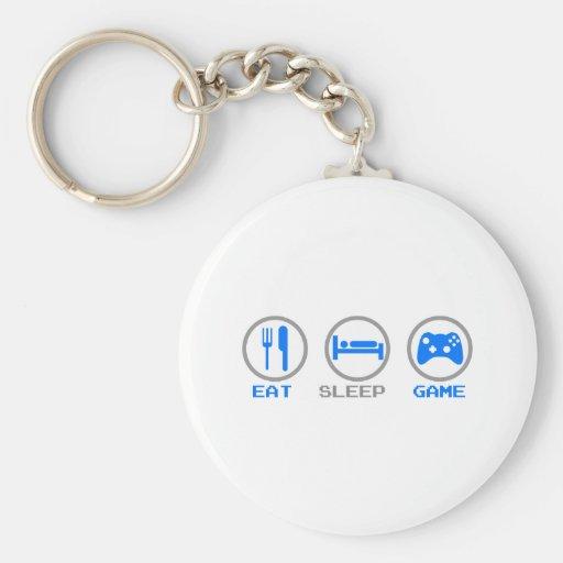 Eat Sleep Game Again - Gamer, geek video games Key Chains