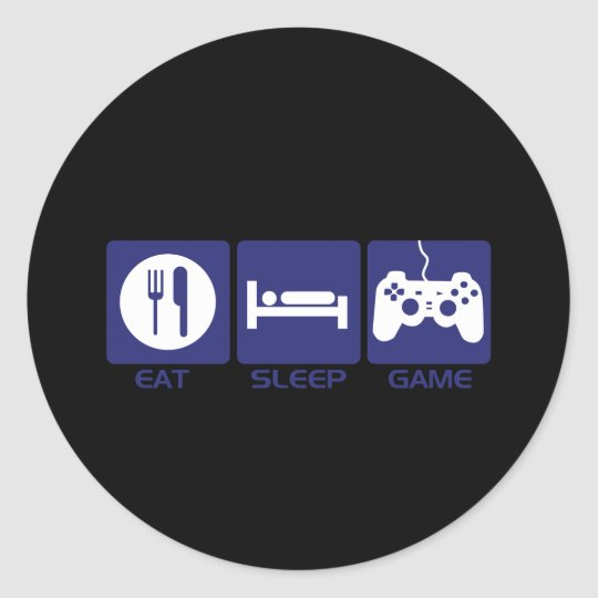 Eat Sleep Game Classic Round Sticker