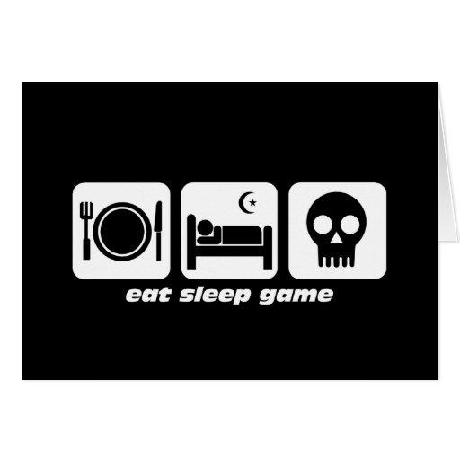 Eat sleep game greeting cards