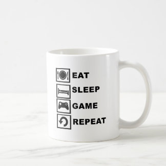 Eat, Sleep, Game, Repeat. Classic White Coffee Mug