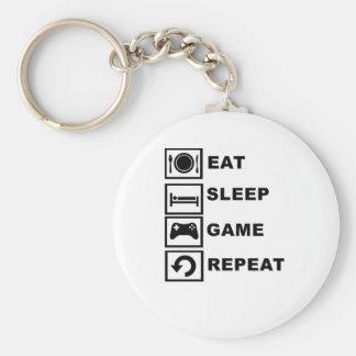 Eat, Sleep, Game, Repeat. Basic Round Button Keychain